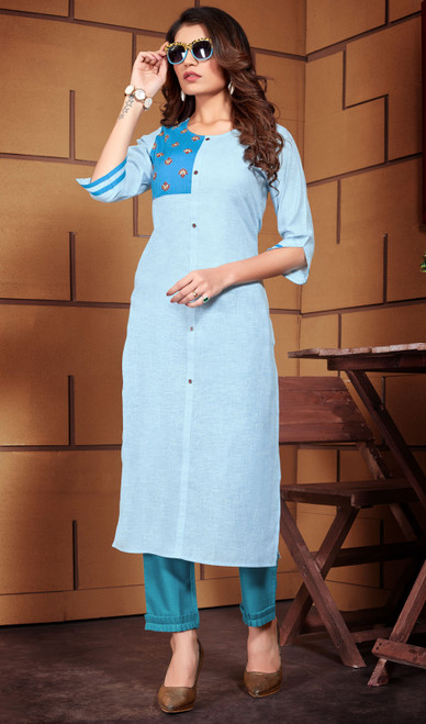 Tunic in Blue Color Shaded Linen