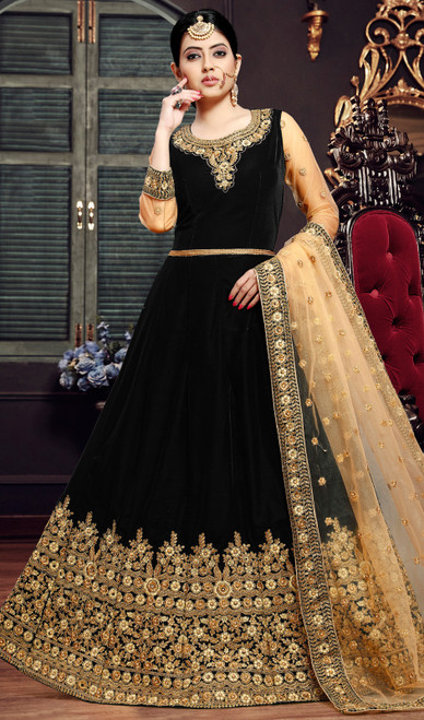 Chocolate Color Embroidered Velvet Anarkali Suit