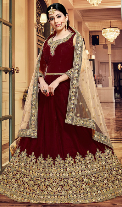 Maroon Color Velvet Embroidered Anarkali Dress