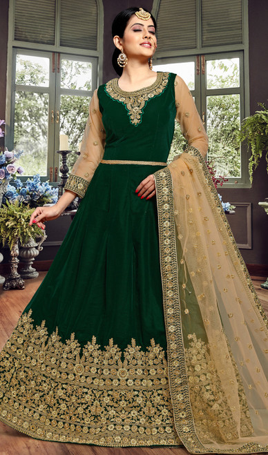 Green Color Embroidered Velvet Anarkali Suit
