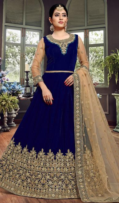 Anarkali Suit in Blue Color Embroidered Velvet