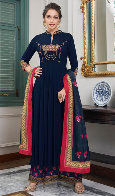 Navy Blue Color Embroidered Maslin Anarkali Palazzo Suit