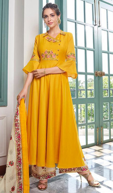 Yellow Color Embroidered Maslin Anarkali Palazzo Dress