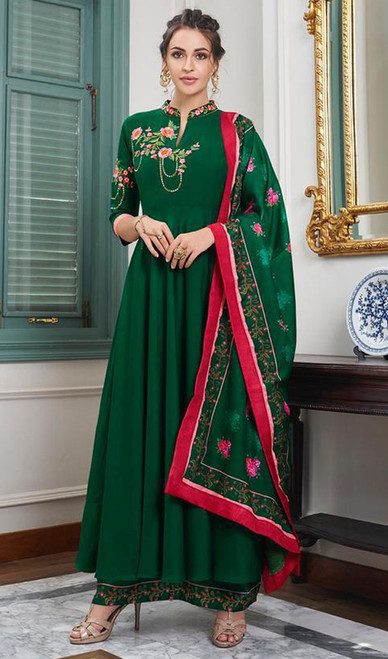 Green Color Maslin Embroidered Anarkali Suit