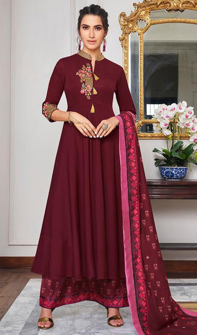 Maroon Color Embroidered Maslin Anarkali Suit