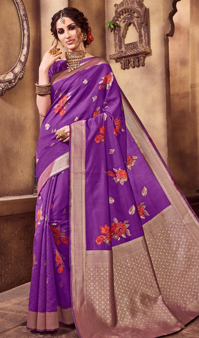 Violet Color Shaded Silk Printed Sari