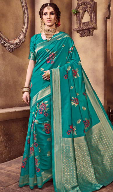 Silk Printed Teal Green Color Shaded Sari