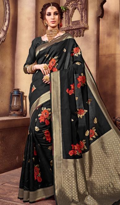 Silk Printed Sari in Black Color Shaded