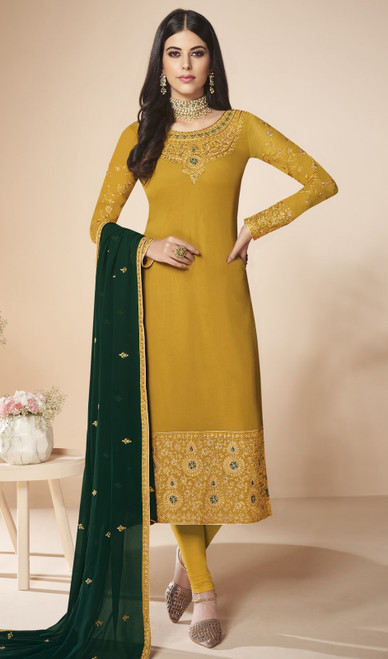 Yellow Color Shaded Georgette Churidar Suit