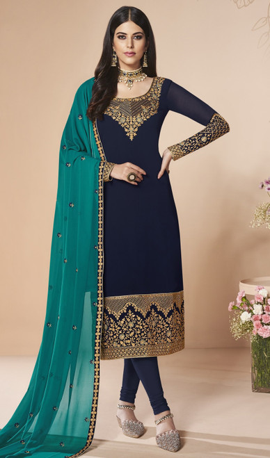 Navy Blue Color Georgette Churidar Dress