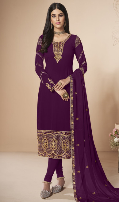 Churidar Kameez in Purple Color Georgette