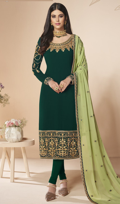 Churidar Dress, Georgette Fabric in Green Color