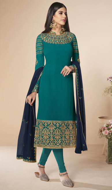 Churidar Suit in Teal Green Color Shaded Georgette
