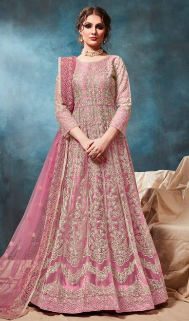 Anarkali Suit Pink Color Embroidered Net
