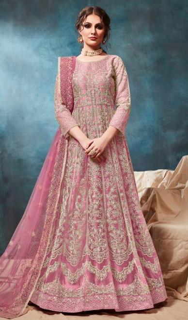 Anarkali Suit Pink Color Embroidered Net