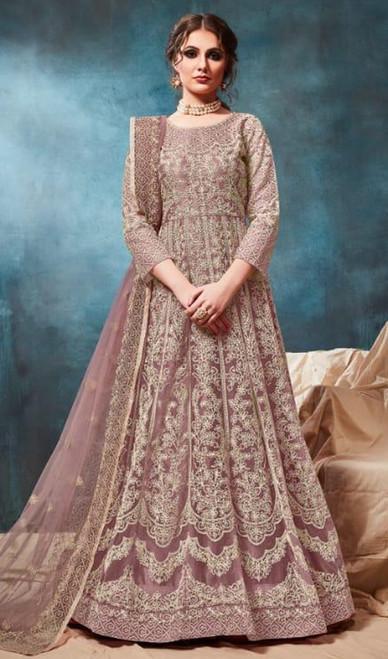Anarkali Suit in Rakhodi Color Shaded Net