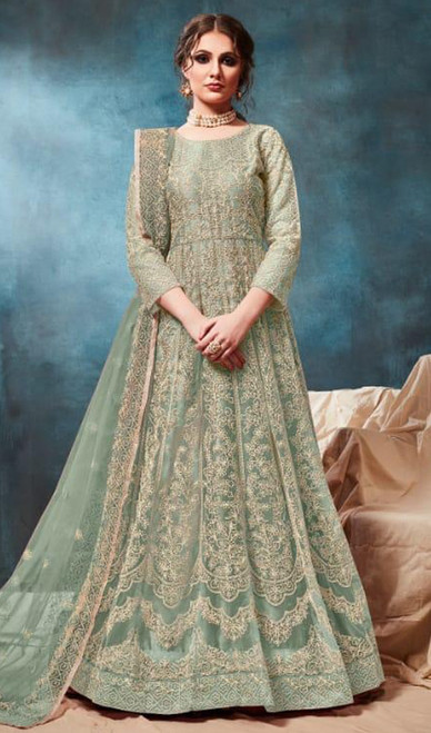 Embroidered Net Anarkali Suit Green Color