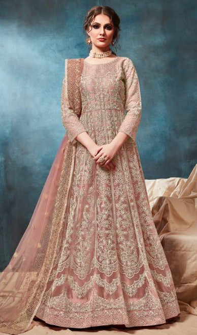 Net Fabric Anarkali Suit in Brown Color Shaded
