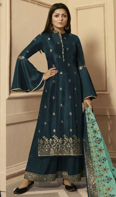 Drashti Dhami Dark Blue Color Silk Georgette Palazzo Suit