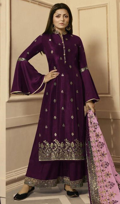 Drashti Dhami Purple Color Silk Georgette Palazzo Dress