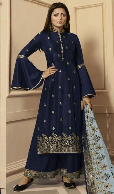 Drashti Dhami Navy Blue Color Silk Georgette Palazzo Dress