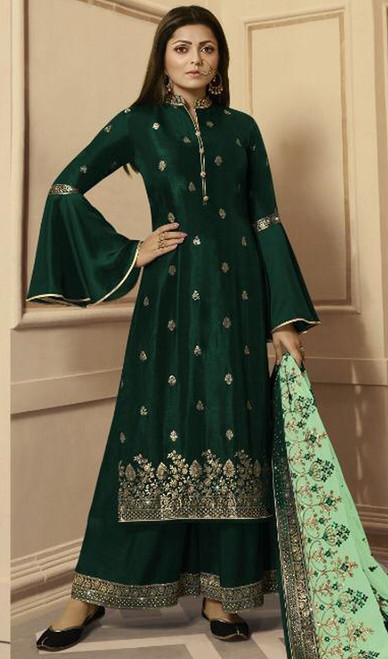 Drashti Dhami Green Color Silk Georgette Palazzo Suit
