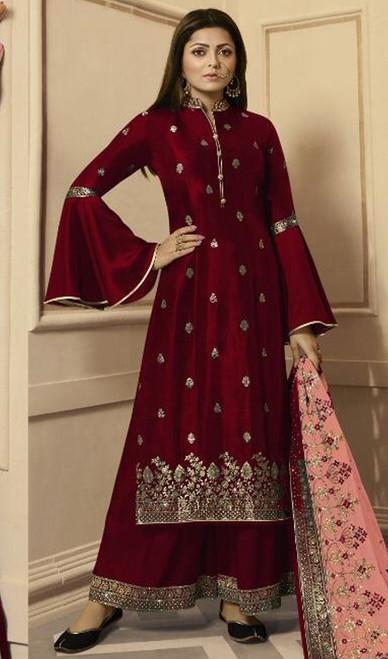 Drashti Dhami Maroon Color Silk Georgette Palazzo Suit