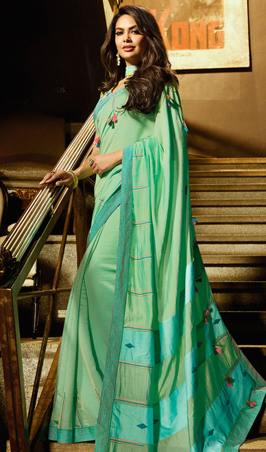 Green Color Shaded Silk Printed Indian Sari