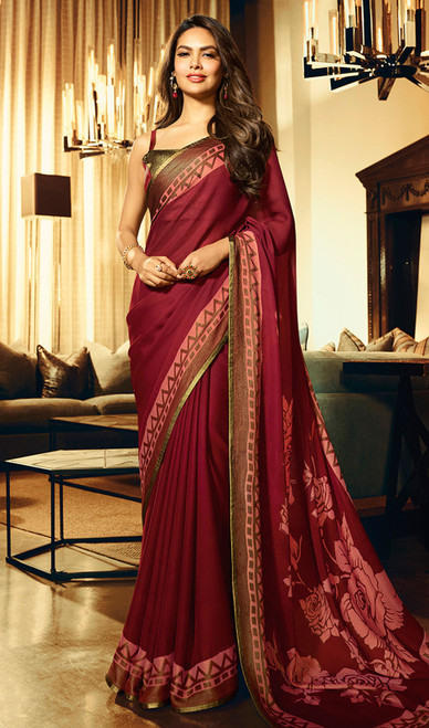 Silk Maroon Color Shaded Printed Sari