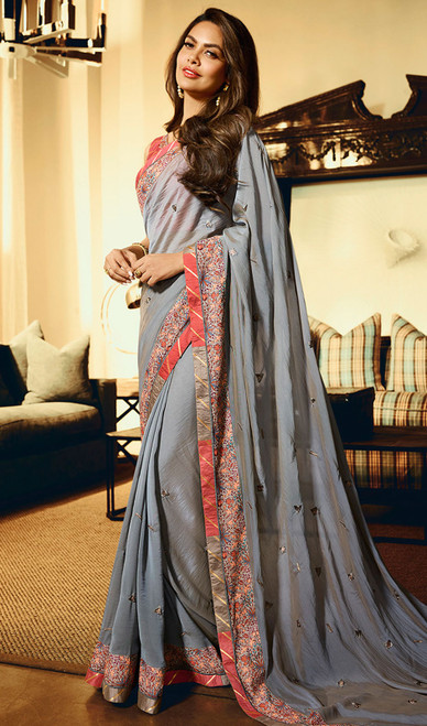 Printed Sari in Gray Color Shaded Silk