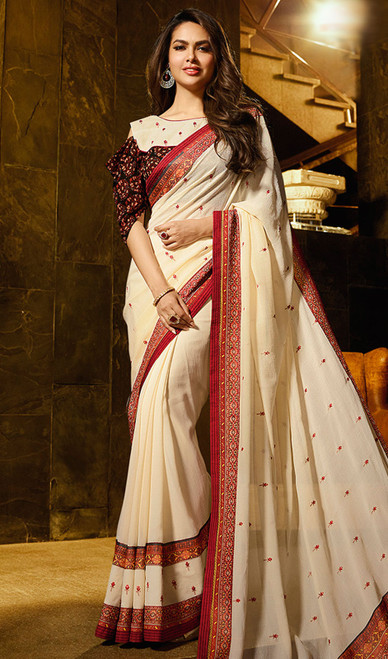 Silk Cream Color Shaded Printed Sari