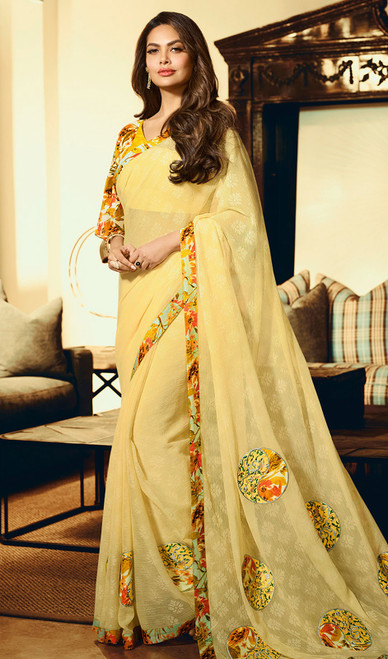 Silk Printed Yellow Color Shaded Sari