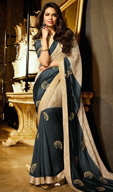 Gray and Cream Color Silk Printed Sari