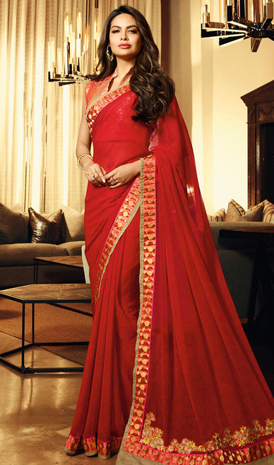 Silk, Red Color Shaded Printed Sari
