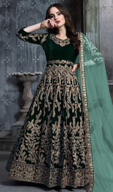 Embroidered Velvet Green Color Anarkali Suit