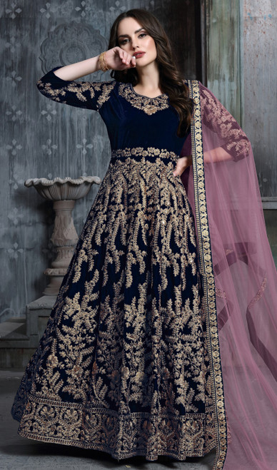 Navy Blue Color Velvet Embroidered Anarkali Dress