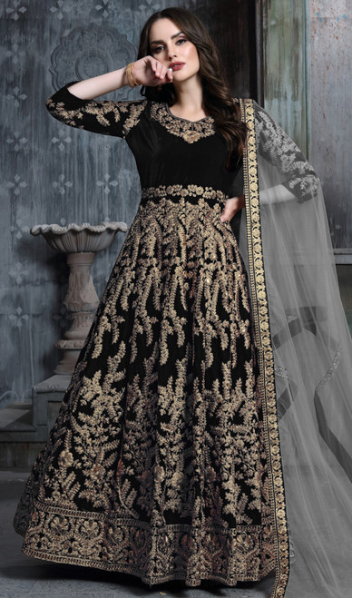Anarkali Dress in Black Color Embroidered Velvet