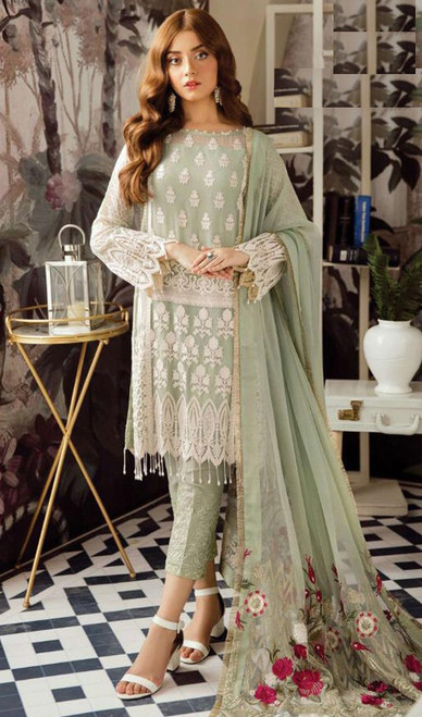 Green Color Embroidered Georgette Suit