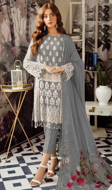 Gray Color Georgette Embroidered Dress