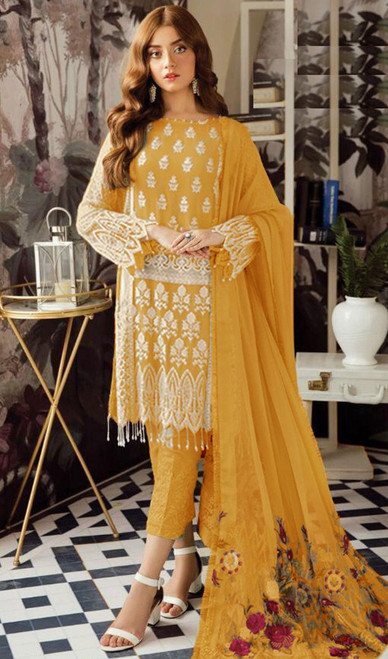 Yellow Color Georgette Embroidered Dress