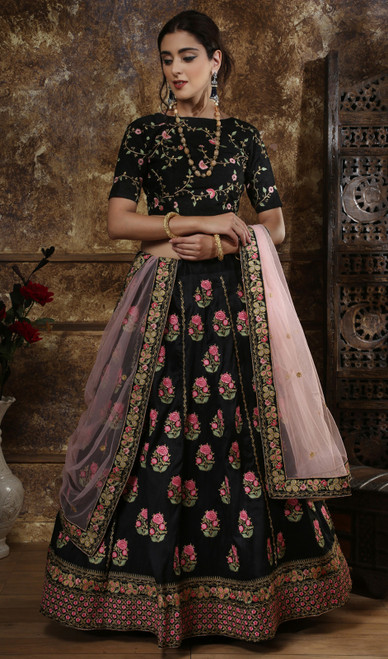 Black Color Embroidered Silk Lehenga Choli