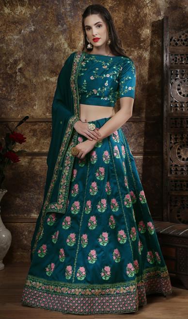 Teal Blue Color SIlk Embroidered Choli Skirt