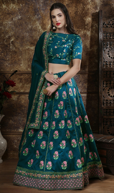Teal Blue Color SIlk Embroidered Choli Skirt