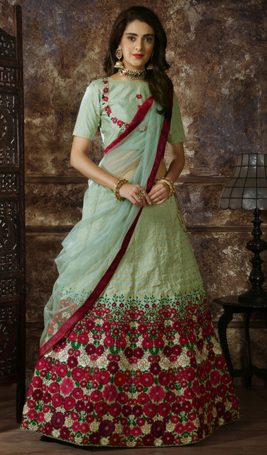 Mint Green Color Embroidered Silk Lahenga Choli