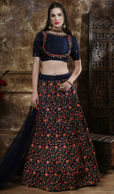 Choli Skirt in Navy Blue Color Embroidered Silk