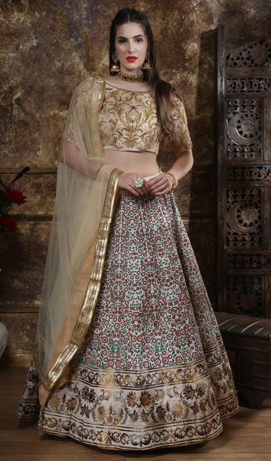 Multicolor Shaded Silk Choli Skirt