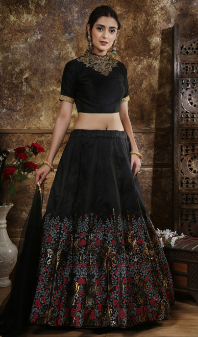 Black Color Embroidered Silk Lahenga Choli
