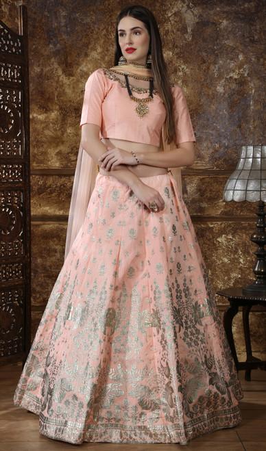 Silk Peach Color Embroidered Lehenga Cholie