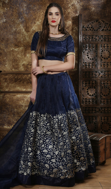 Navy Blue Color Shaded Organza Cholie Skirt