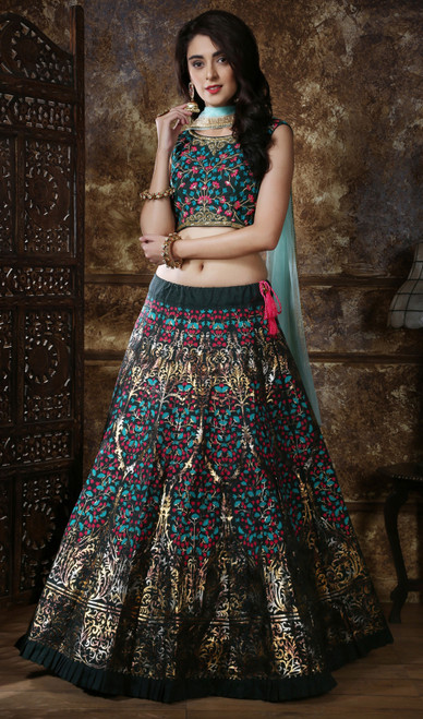 Green Color Embroidered Silk Lahenga Cholie